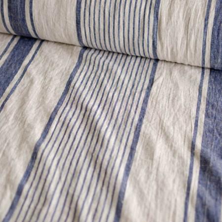 Lin lavé Ariane écru à rayures bleues