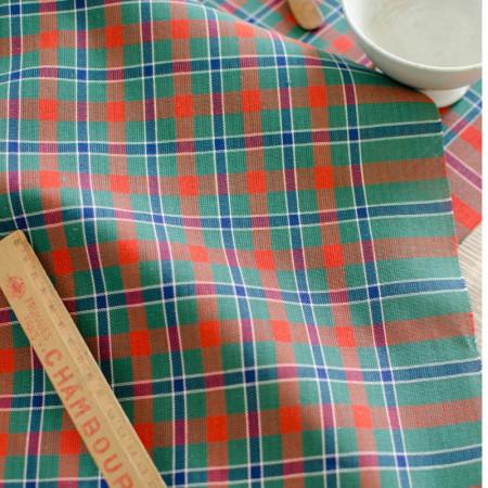 Toile à torchon verte et rouge à carreaux en coton